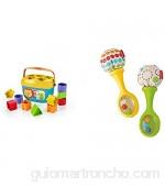 Fisher-Price - Bloques Infantiles Juguete Bloques Construcción para Bebé +6 Meses (Mattel FFC84) + Maracas Musicales Juguete y sonajero para bebé +3 Meses (Mattel BLT33)