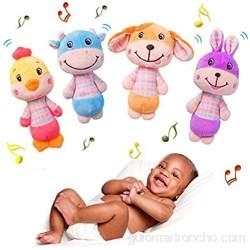 RetroFun 4 Unids/Set Suave Sonajeros Bebé Juguete Lindo Peluche Animales de Peluche Batido de Juguete con Sonido Juguete Educativo Temprano para Bebés y Niños Pequeños