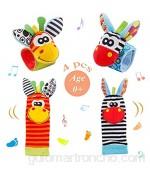 Sonajeros de Muñeca Bebe Sonajero de Pies y Manos Juguetes de Desarrollo Animal Lindo Calcetines Sonajero para 0-12 Meses Recién Nacido Niño Niñas (Naranja)