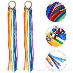 STOBOK Juego de 2 campanas de mano con borlas de arcoíris con sonajeros varillas de madera juguete educativo juguete Montessori juguetes para niños fiesta de bebé regalo