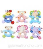 Toyvian 1pcs Sonajeros para Bebés Juguete de Peluche Animal Zoo Peluche Sonajero de Mano Juguete para Anillo para Niños Pequeños (Patrón Aleatorio)