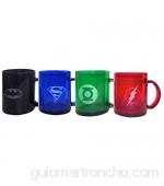 SD Toys SDTWRN89216 - Set de 4 tazas de cristal (SDTWRN89216) - Set de tazas transparentes DC Comics