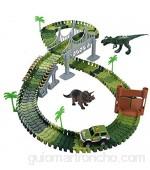 Circuito Coches Pista Coches Juguetes Dinosaurios Niños 3 4 5 Años -142pcs Flexible Pista de Carreras Juguetes