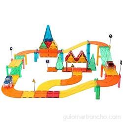 ZWW Pista Magnética del Coche del Azulejo De Los Niños 82 PCS - Bloque De Creación del Juguete Educativo para El Preescolar | Kit De Construcción De Pista De Coche De Carreras Stem