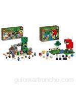 LEGO Minecraft La Mina de Creeper Juguete de construcción de Refugio del Herrero Set Inspirado en el Videojuego Novedad 2019 (21155) + La Granja de Lana Juguete de Constucción