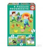 Educa - Animales de la Granja 4 Puzzles Progresivos Multicolor 17145