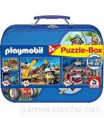 Schmidt Spiele 55599 - Playmobil Caja Puzzle 2 x 60 2 x 100 Piezas en una Caja de Metal