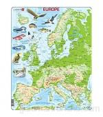 Larsen K70 Mapa físico de Europa edición en Inglés Puzzle de Marco con 87 Piezas