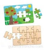 Baker Ross- Puzles de madera para diseñar (Pack de 8) Puzles para diseñar- manualidades infantiles para decorar