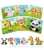 BelleStyle Rompecabezas de Madera 6x9 Piezas Puzzles de Madera Rompecabezas de Animales Montessori Juguete - Educativos Aprendizaje Juegos y Juguetes para Pequeños Niños y Niñas 2-5 Años de Edad