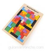 Flybiz Puzzle de Madera Tetris,Tangram Rompecabezas Juego Juguetes educativos (40 Piezas),Jigsaw Puzzle Tetris del Juguete Tetris del Niño del Juguete De Niños Montessori Rompecabezas De Madera