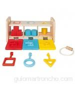 Janod Essentiel - la Caja de Llaves - Juego Educativo de Madera para niños pequeños 2 en 1 - Aprender Las Formas y los Colores y desarrollar la motricidad Fina - Pintura al Agua - a Partir de 18.Meses