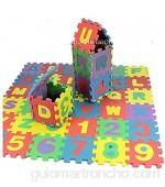 Cooplay Alfabeto Letras y números Espuma Puzzle Cuadrado Bloques Espuma 5 x 5 pulgadas 36 piezas