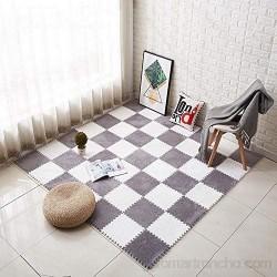 EVA Espuma Play Mat Niños Rompecabezas Alfombras De Lujo Suave Escalada Enclavamiento Piso Conjunto Azulejos Dormitorio Sala Estar Anti-patín Shaggy Área Alfombra ( Color : Gray+white Size : 10pcs )