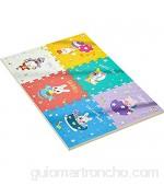 WZHIJUN Alfombrilla de juegos para bebé EPE 6 Piezas Espuma Baldosas de Cerámica con Frontera Niño Animal Rompecabezas Pad de Juego (Color : A)