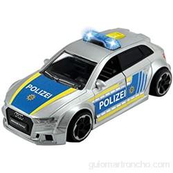 Dickie Toys 203713011 Audi RS3 - Coche de policía con fricción con Accesorios y Bloqueo de Carretera luz y Sonido Incluye Pilas Escala 1:32 15 cm a Partir de 3 años Color Plateado y Azul