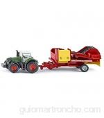 SIKU 1808 Tractor Fendt con recolectora de patatas 1:87 Multifuncional Metal/Plástico Verde/Rojo