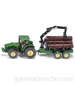 SIKU 1954 Tractor John Deere con remolque forestal 1:50 Brazo de carga y pinza funcionales Metal/Plástico Verde