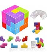 Cubo mágico magnético 7 piezas de bloques de construcción de imanes de juguete + 54 tarjetas de guía adicionales cubos magnéticos azulejos rompecabezas educativos para aliviar el estrés