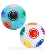 Coolzon Mágico Bola de Cubo de Velocidad Bola Mágica de Arco Iris 3D Juguetes para niños Adolescentes Adultos Paquete de 2