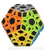 HXGL-Drum Cubo de Fibra de Carbono Megaminx 3X3 Cubo mágico Cubo de Velocidad Suave Juego de Rompecabezas Profesional Rompecabezas Juguetes de Fibra de Carbono para niños Regalo de Adultos