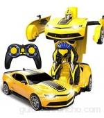AIOJY 1/12 USB Modelo ABS Transformador coche del truco RC Hobby recarga del vehículo deformado de control remoto inalámbrico de coches RC amarillo control remoto de coches de juguete de regalo de N