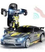 AIOJY Con un solo botón de radio RC eléctrico de deportes con el coche fresco sonido de luz Robot Coches Niño Regalo Deformación de carreras de coches de control remoto recargable 1/14 Escala inalámbr