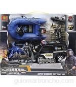 JUCSA Set 3 vehiculos policia con Figuras: furgon Moto y lancha