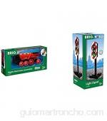 BRIO-33592 Gran Locomotora a Pilas con luz y Sonido Color Negro Rojo (RAVENSBURGER 33592) + 33743 - Semáforo de Juguete