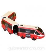 ISAKEN Tren Eléctrico de Acción Tren de Locomotora Tren de Acción Operado por Batería Potente Tren Eléctrico Pequeño Tren de Juguete magnético Tren Regalo para niños