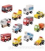 Wosune Coche de Madera Color Brillante 12Pcs / Set Coche de Juguete Lindo para niño y niña para Exterior para el hogar(2nd Generation Car)
